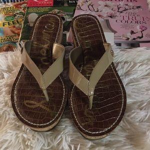 Sam Edelman - wedge flip flops. Tan SZ6👚👖